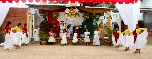 Nativity reenactment followed by dancers