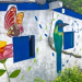 La Entrada house mural - butterfly and bird