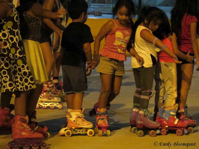 Kids lined up during skating practice