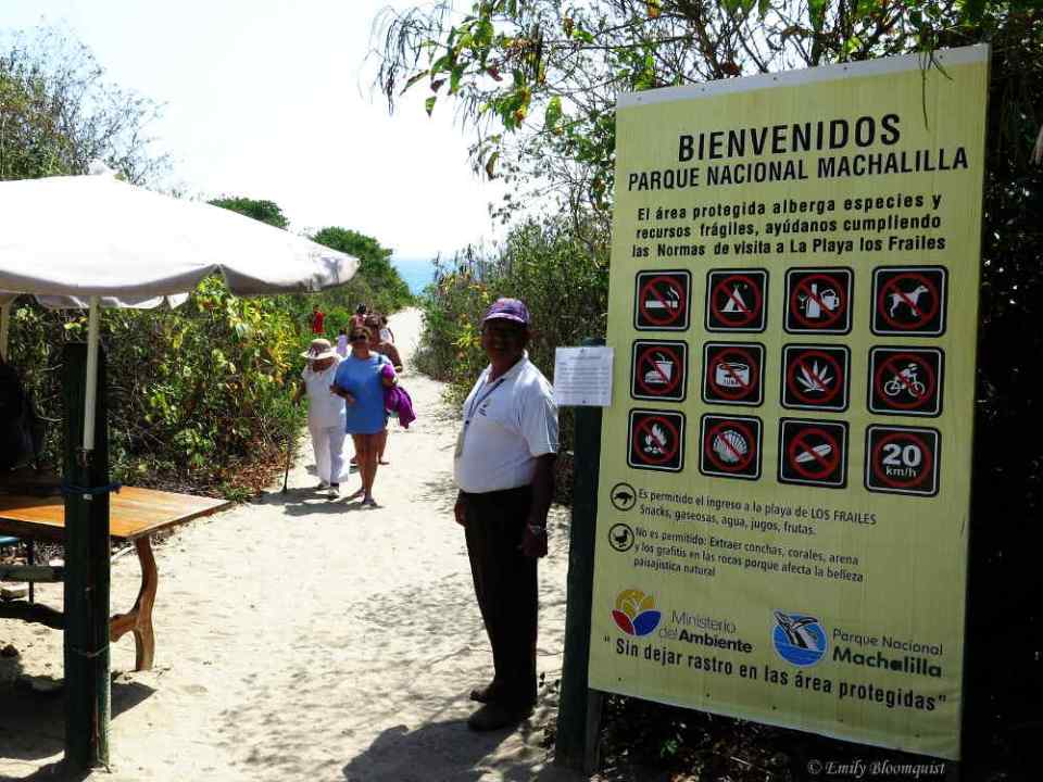 Los Frailes Beach entrance checkpoint