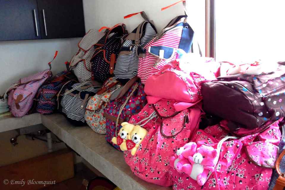 Some of the filled backpacks for girls