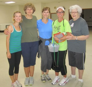 Silver Foxes Claire Kennedy Methvin, Susanne Reeves, Emily Kennedy, Marilyn McCormick, and Mary Eleanor Weathers pause after a long workout