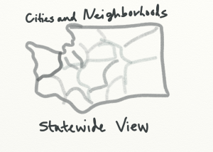 Cities and neighborhoods statewide view black and white sketch