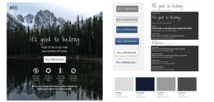 High-fidelity detailed design outdoor image, membership buttons, typography guide, and color palette