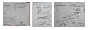 Pen sketches on paper of mobile, tablet, and desktop site views