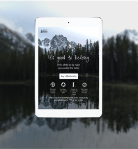 REI Membership Landing Page Redesign in tablet view with outdoor lake and mountains in background