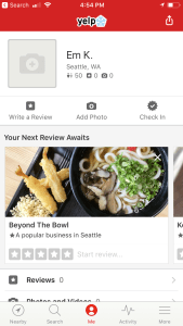 Yelp current app homescreen