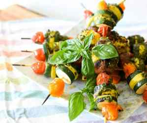 Garden Harvest Veggie Pesto Skewers by Emily Kyle Nutrition