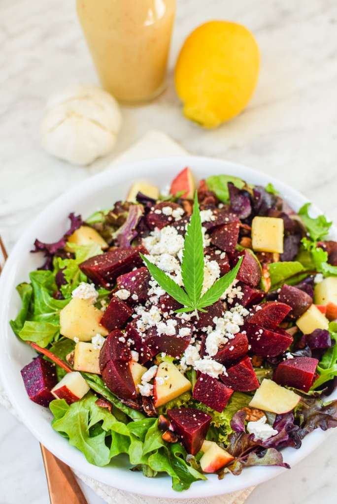 Beet & Walnut Cannabis Leaf Salad with Citrus Vinaigrette