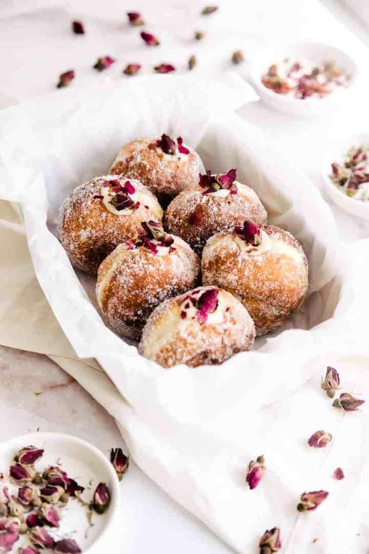 Brioche Doughnuts with Vanilla Rose Pastry Cream