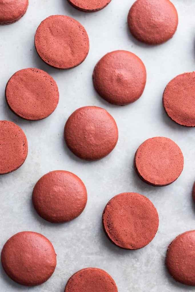Raspberry Macaron Shells