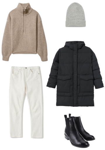 Basic winter outfit with half zip sweater, ecru denim, parka, chelsea boots