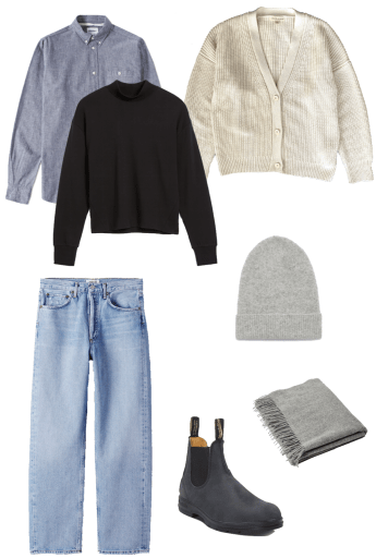 Basic winter outfit with black mockneck, chambray shirt, cardigan, light denim, winter boots