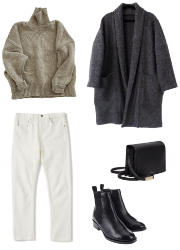 Basic winter outfit with chunky knit, ecru denim, long cardigan, chelsea boots