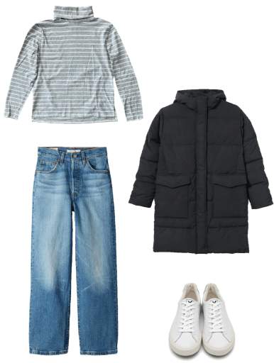 Basic winter outfit with grey turtleneck, medium wash denim, black parka, white sneakers