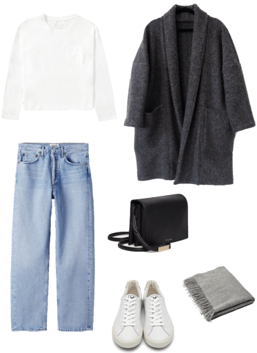 Basic winter outfit with white tee, light denim, long cardigan, white sneakers