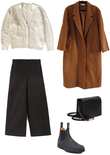 Basic winter outfit with cardigan, wide leg pants, camel wool coat, winter boots