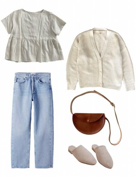 Peplum top, denim, and cardigan outfit