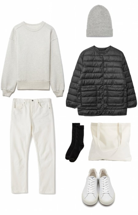 Grey sweater, white denim, and quilted liner jacket outfit