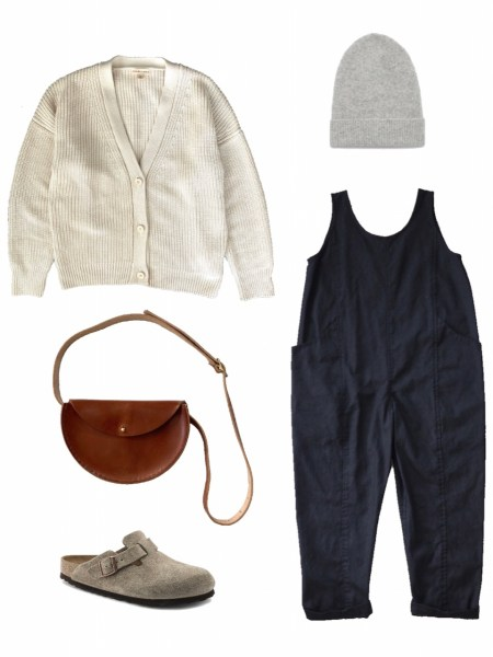 Jumpsuit, cardigan, and clogs outfit