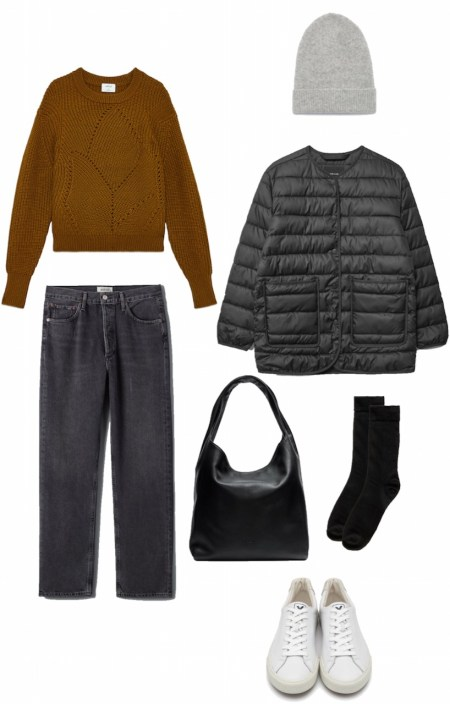 Sweater, jeans, and puffy liner jacket outfit
