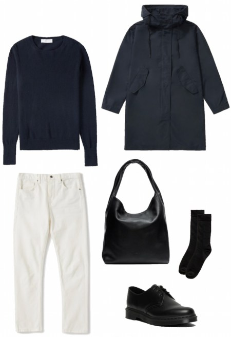 Cashmere sweater, jeans, and rain jacket outfit