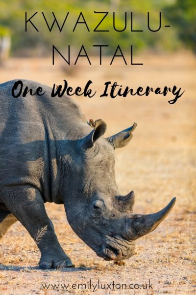 One Week Itinerary for KwaZulu-Natal province in South Africa.