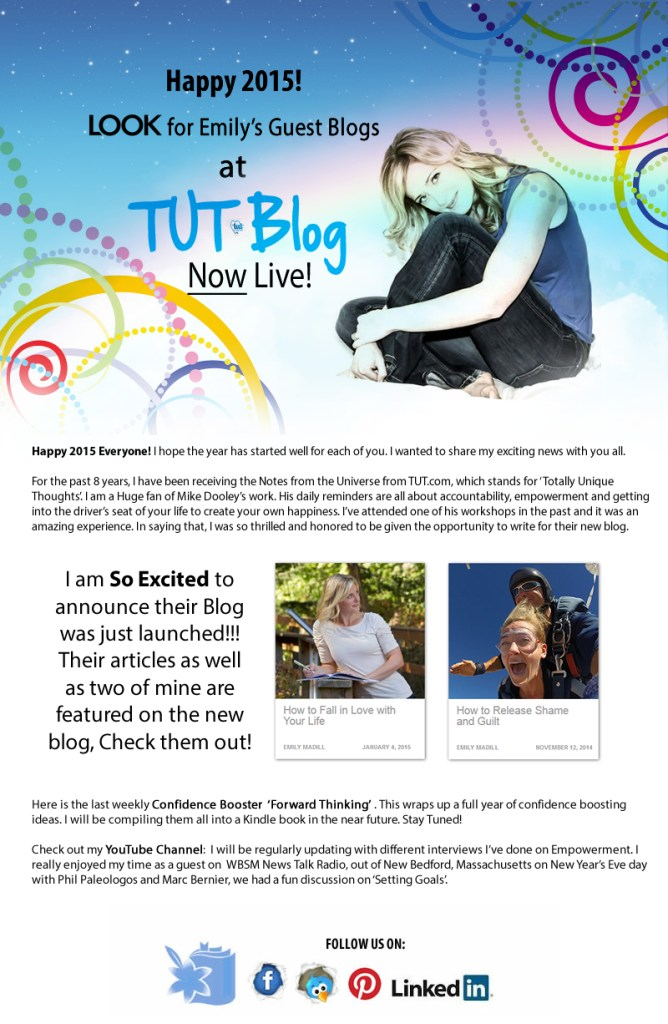 TUT Blog, TUT.com, Mike Dooley, Notes from the Universe, Writer, Inspiration, Exciting News, Follow Your Dreams, Love Life, Emily Madill