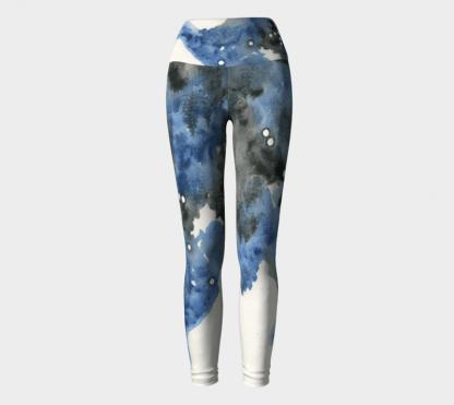 Watercolor Leggings, Abstract Leggings, Blue Leggings