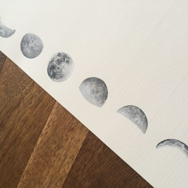 moon phase art, moon phase painting, moon painting