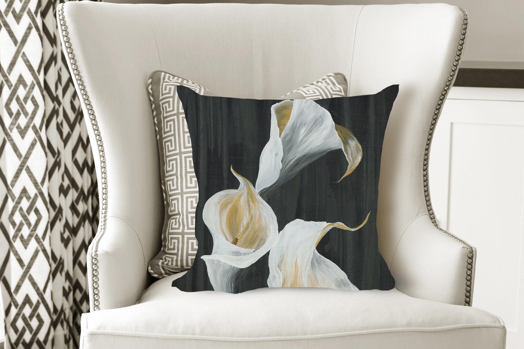 flower pillow, floral pillow, calla lilies