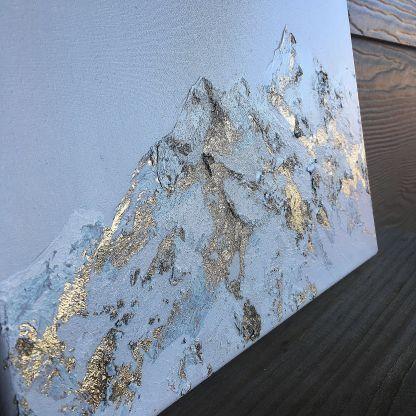 mountain art, mountain painting, gold art, landscape mountains