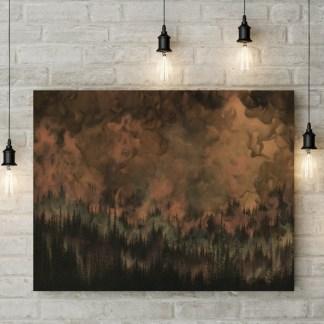 forest art, nature art, copper art, tree art, forest painting