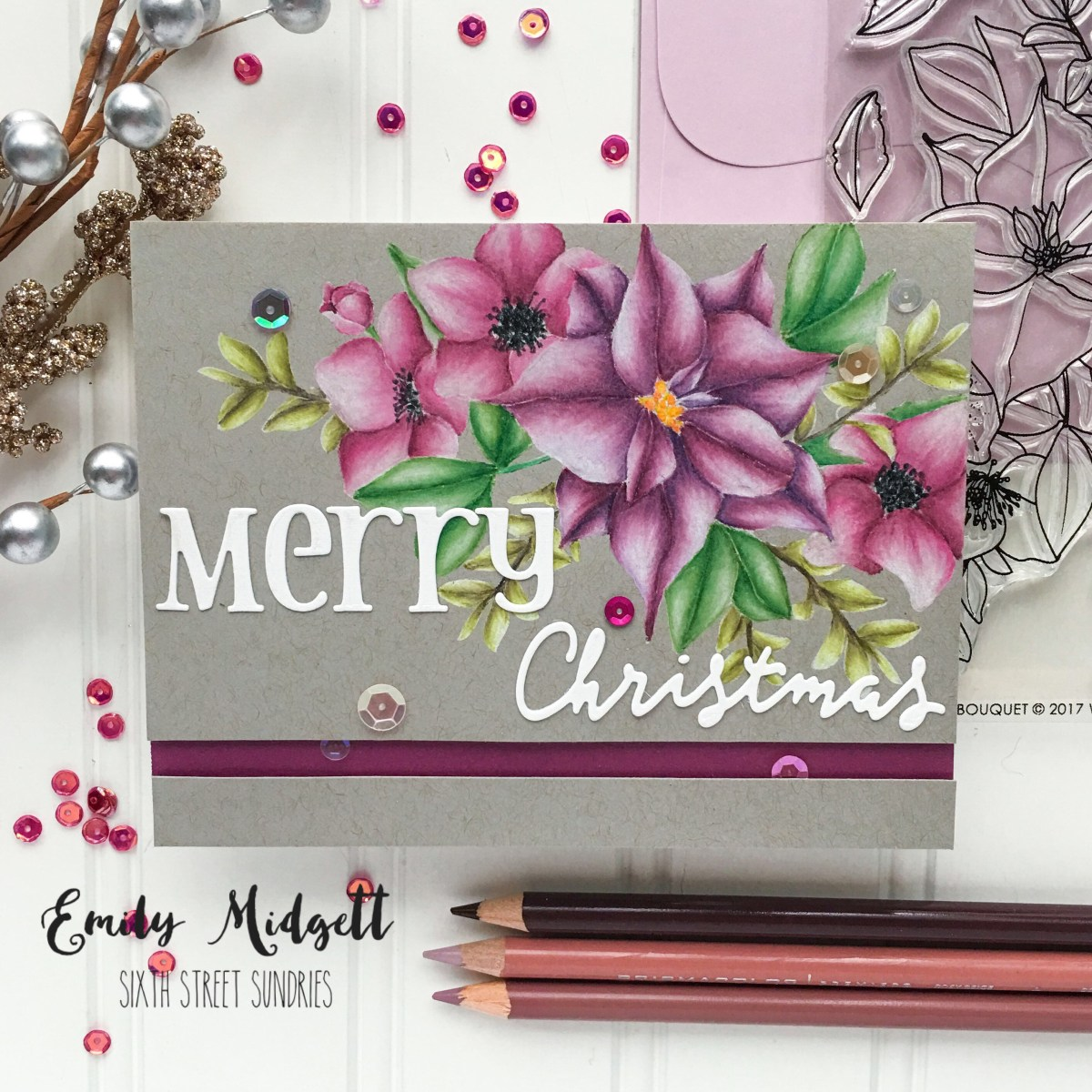 Merry Christmas in flowers and pencils