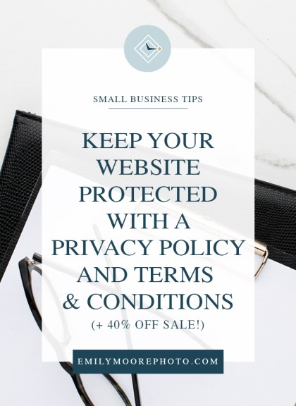 Keep Your Website Protected with a Privacy Policy and Terms & Conditions | GDP Ready Templates | 40% OFF | Emily Moore | Private Photo Editor