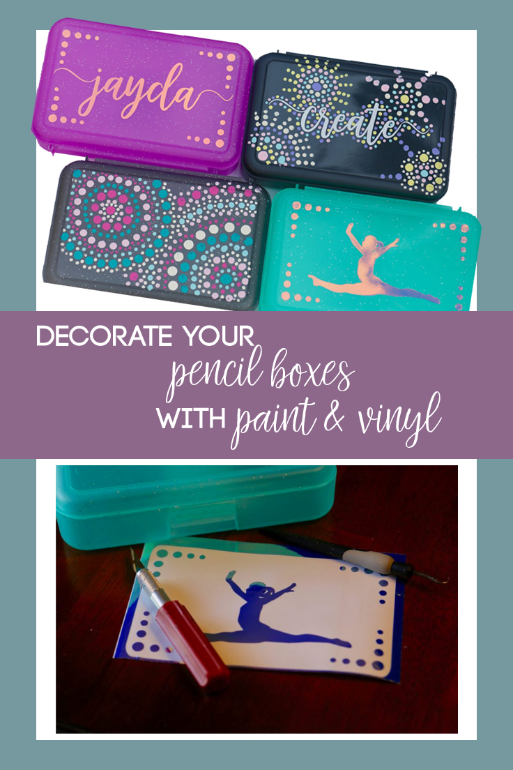 Use holographic adhesive vinyl and acrylic paint to transform pencil boxes