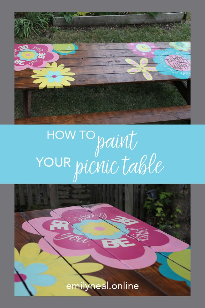 Use your Silhouette or Cricut cutting machine to paint a custom picnic table and build community in your yard.