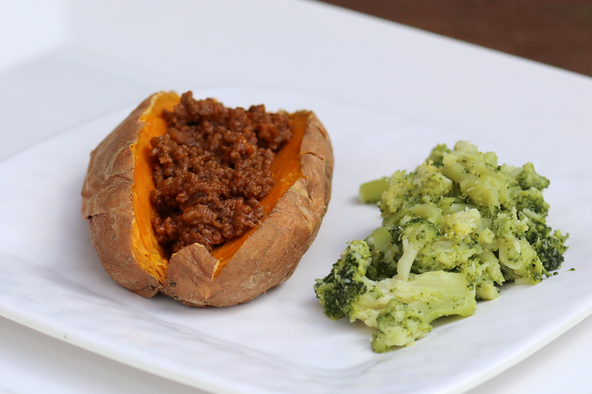 Paleo sloppy joe with baked sweet potato