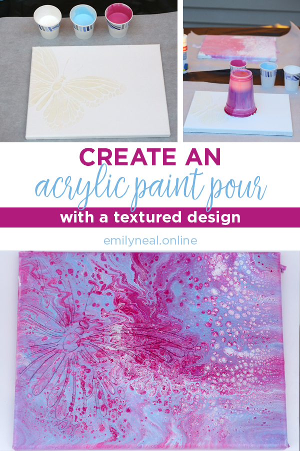 Create an acrylic paint pour with a textured design