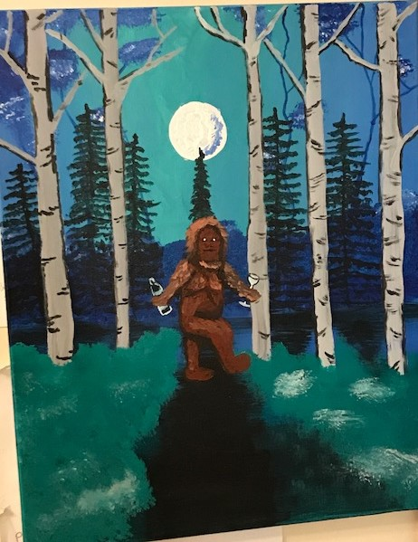 A very bad painting of a sasquatch in a forest