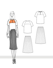 Zip Front Raglan Top and Pleated Midi Skirt