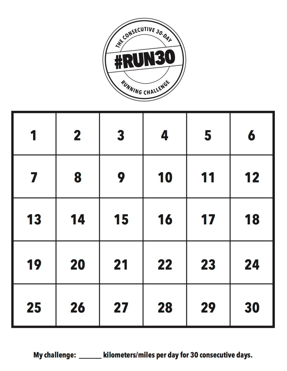RUN30 Prtinable Calendar