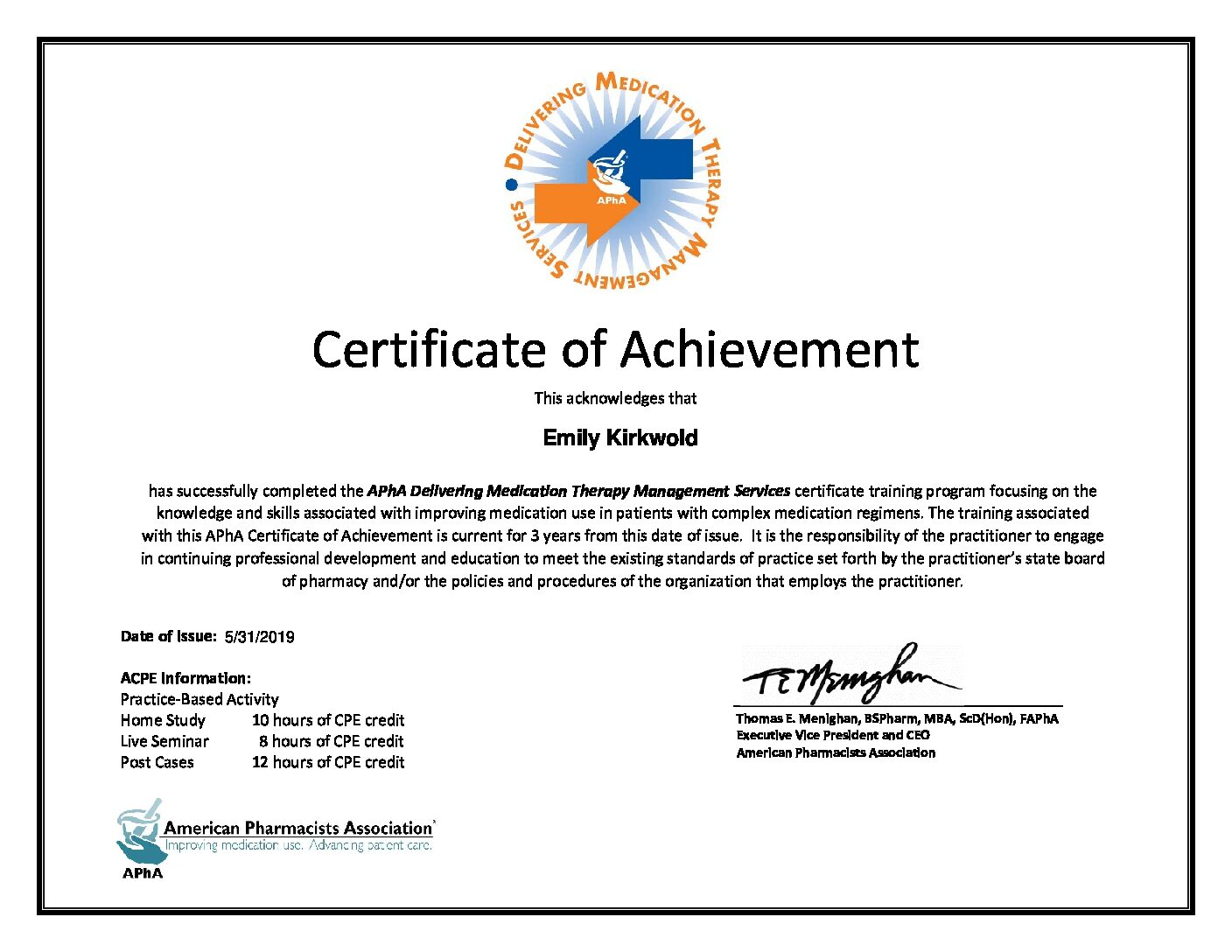 I Am Certified In Delivering Medication Therapy Management