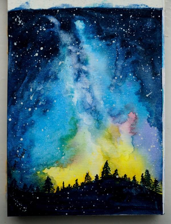 Galaxy Watercolor Painting Idea
