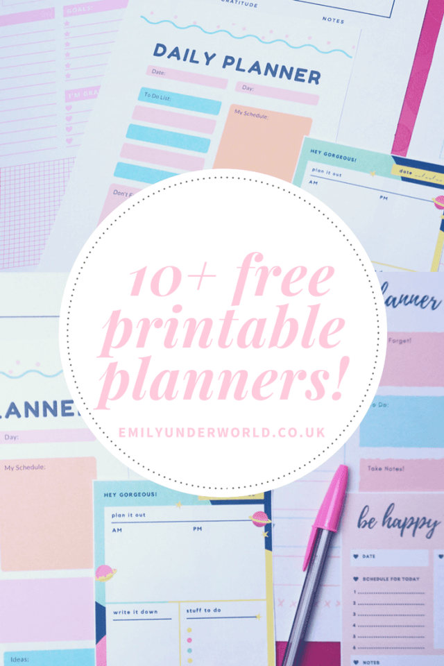 10+ Free Printable Planners!