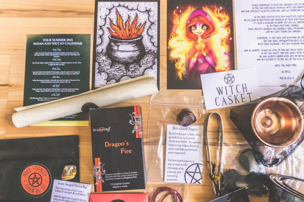Inside the Witch Casket Subscription Box.
