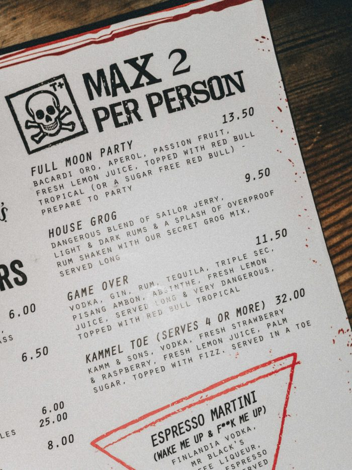 Meat Liquor Cocktail Menu