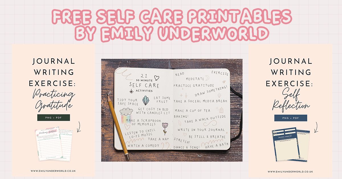 Free Self-Care Printables and Journal Worksheets by Emily Underworld
