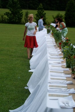 Inspecting the table. Photo by Suzy Shelton