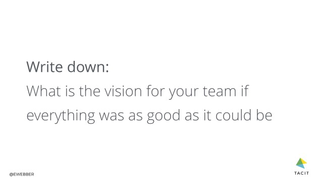 Write down: what is the vision for your team if everything was as good as it could be?